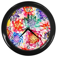 Colorful Succulents Wall Clocks (black) by DanaeStudio