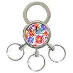 Colorful Succulents 3-Ring Key Chains Front