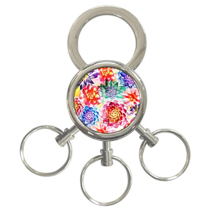 Colorful Succulents 3-Ring Key Chains