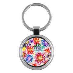 Colorful Succulents Key Chains (round)  by DanaeStudio