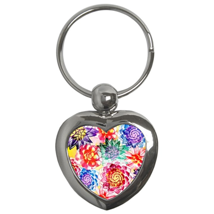 Colorful Succulents Key Chains (Heart)