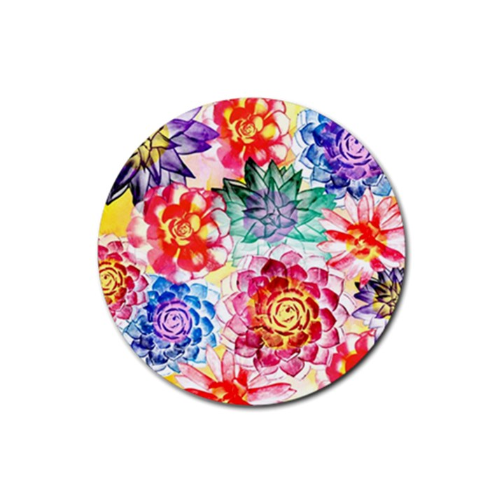 Colorful Succulents Rubber Coaster (Round)