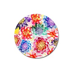 Colorful Succulents Magnet 3  (round) by DanaeStudio
