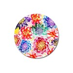 Colorful Succulents Magnet 3  (Round) Front