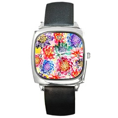 Colorful Succulents Square Metal Watch by DanaeStudio