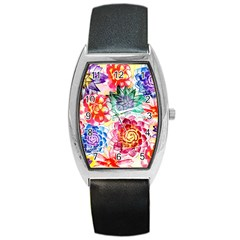 Colorful Succulents Barrel Style Metal Watch by DanaeStudio