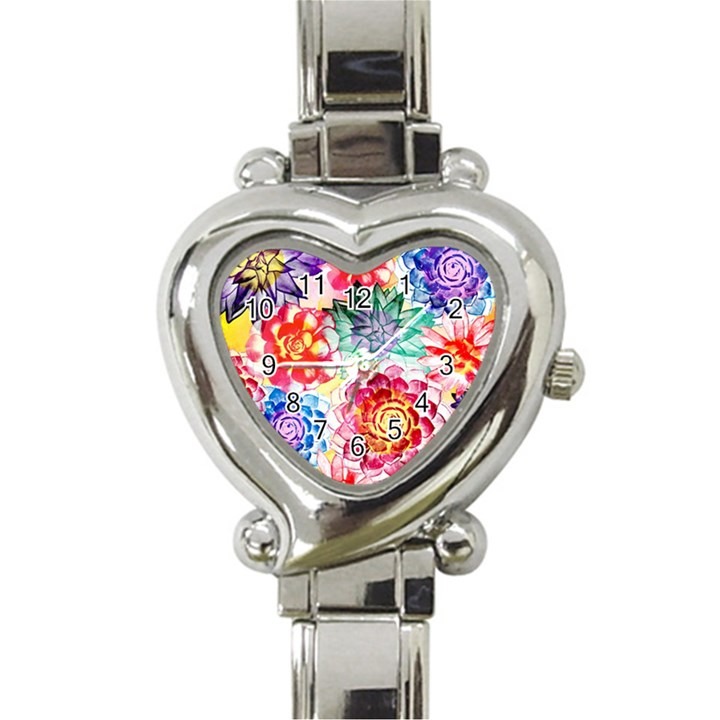 Colorful Succulents Heart Italian Charm Watch