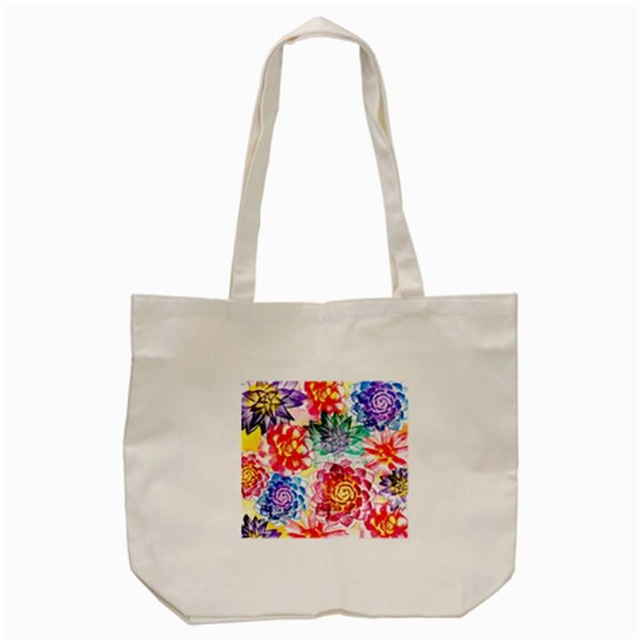 Colorful Succulents Tote Bag (Cream)
