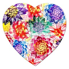 Colorful Succulents Jigsaw Puzzle (heart) by DanaeStudio