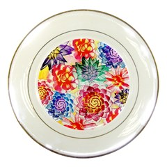 Colorful Succulents Porcelain Plates by DanaeStudio