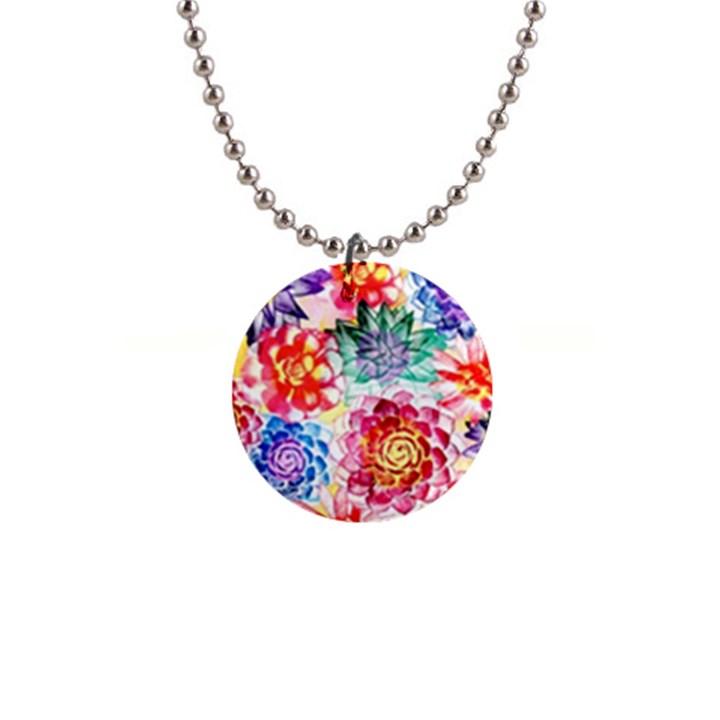 Colorful Succulents Button Necklaces