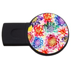 Colorful Succulents Usb Flash Drive Round (4 Gb)  by DanaeStudio