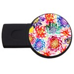Colorful Succulents USB Flash Drive Round (4 GB)  Front