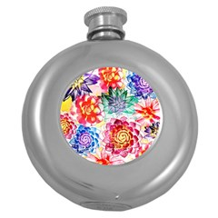 Colorful Succulents Round Hip Flask (5 Oz) by DanaeStudio