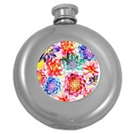Colorful Succulents Round Hip Flask (5 oz) Front