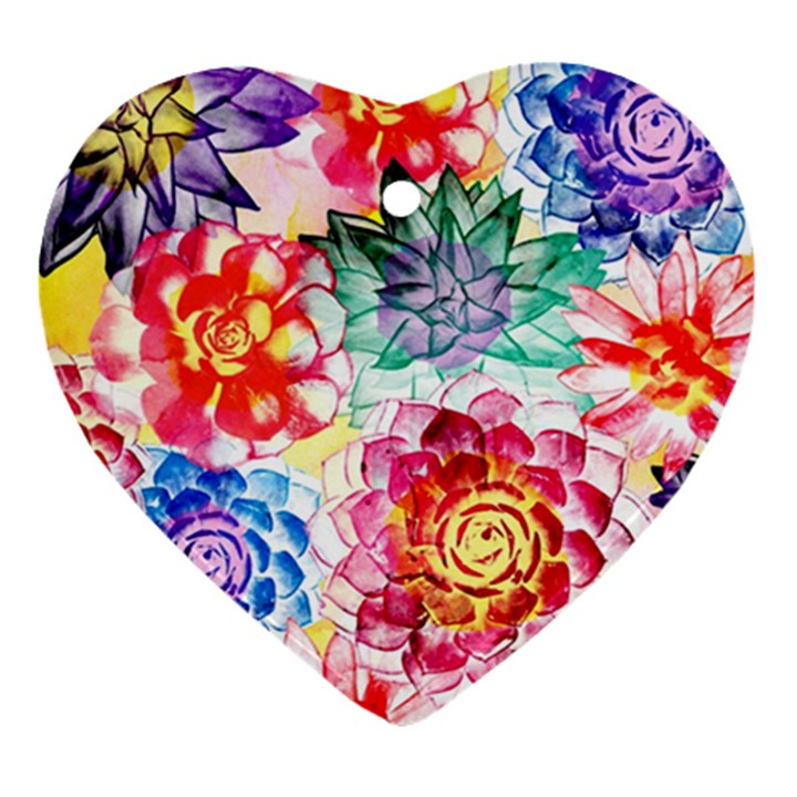 Colorful Succulents Heart Ornament (2 Sides)