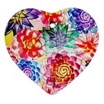 Colorful Succulents Heart Ornament (2 Sides) Back