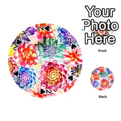 Colorful Succulents Playing Cards 54 (round)  by DanaeStudio