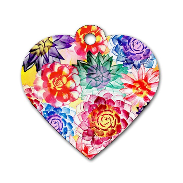 Colorful Succulents Dog Tag Heart (One Side)