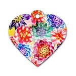 Colorful Succulents Dog Tag Heart (Two Sides) Back