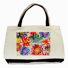 Colorful Succulents Basic Tote Bag (two Sides) by DanaeStudio