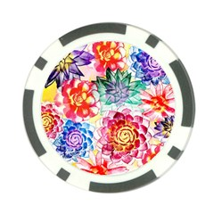 Colorful Succulents Poker Chip Card Guards (10 Pack)  by DanaeStudio