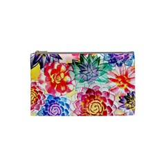 Colorful Succulents Cosmetic Bag (small)  by DanaeStudio
