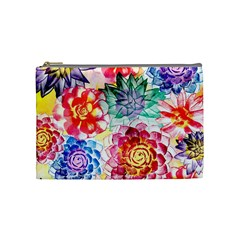 Colorful Succulents Cosmetic Bag (medium)  by DanaeStudio