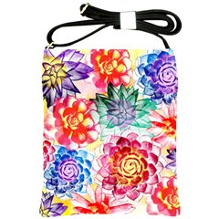 Colorful Succulents Shoulder Sling Bags by DanaeStudio