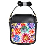Colorful Succulents Girls Sling Bags Front