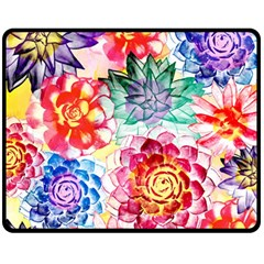 Colorful Succulents Fleece Blanket (medium)  by DanaeStudio