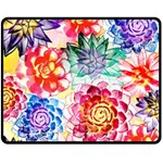 Colorful Succulents Fleece Blanket (Medium)  60 x50 Blanket Front