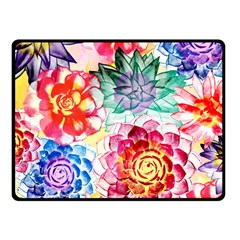 Colorful Succulents Fleece Blanket (small) by DanaeStudio