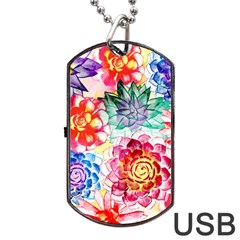 Colorful Succulents Dog Tag Usb Flash (two Sides)  by DanaeStudio