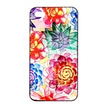 Colorful Succulents Apple iPhone 4/4s Seamless Case (Black) Front