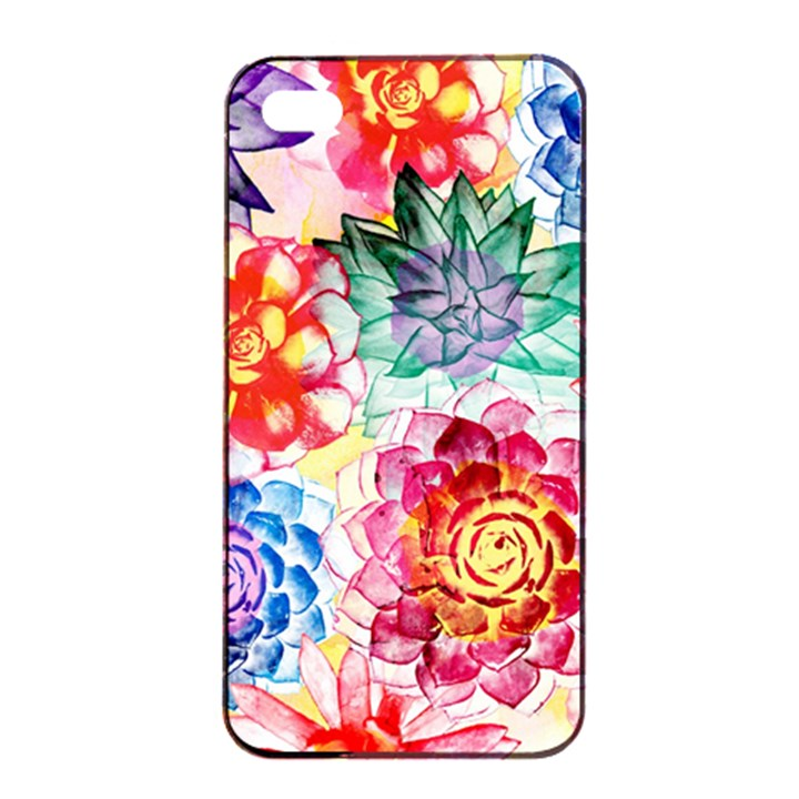 Colorful Succulents Apple iPhone 4/4s Seamless Case (Black)