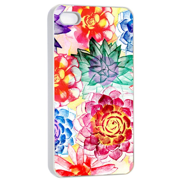 Colorful Succulents Apple iPhone 4/4s Seamless Case (White)