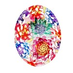 Colorful Succulents Ornament (Oval Filigree)  Front