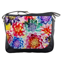 Colorful Succulents Messenger Bags by DanaeStudio