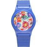 Colorful Succulents Round Plastic Sport Watch (S) Front
