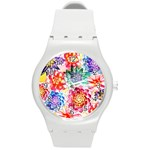 Colorful Succulents Round Plastic Sport Watch (M) Front