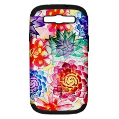 Colorful Succulents Samsung Galaxy S Iii Hardshell Case (pc+silicone) by DanaeStudio