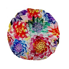 Colorful Succulents Standard 15  Premium Round Cushions by DanaeStudio