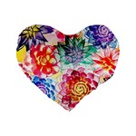 Colorful Succulents Standard 16  Premium Heart Shape Cushions Front
