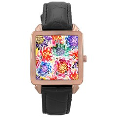 Colorful Succulents Rose Gold Leather Watch  by DanaeStudio