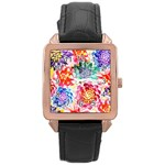 Colorful Succulents Rose Gold Leather Watch  Front