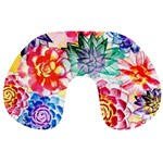 Colorful Succulents Travel Neck Pillows Front