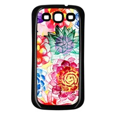 Colorful Succulents Samsung Galaxy S3 Back Case (black) by DanaeStudio