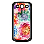 Colorful Succulents Samsung Galaxy S3 Back Case (Black) Front