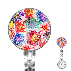 Colorful Succulents Stainless Steel Nurses Watch by DanaeStudio